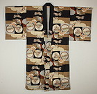 Japanese antique katazome cotton jyuban kimono Pattern of the war