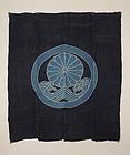 Edo Tsutsugaki Futon cover Family crest Indigo plant Cotton Silk.