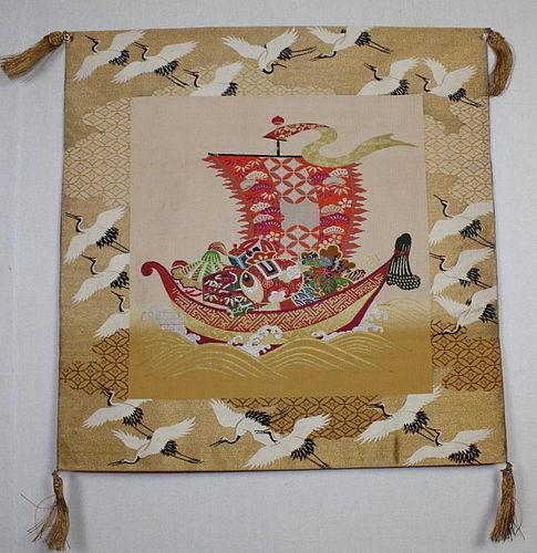Showa Handwoven fabric Silk Fukusa Treasure Ship Luxurious.