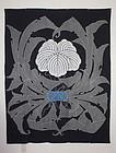 Meiji Tsutsugaki Indigo Cotton Samurai Kabuto Big Tabanenoshi