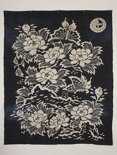 Meiji Tsutsugaki Indigo Cotton Futon-cover Cotton Butterfly Peony.