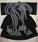 Edo Tsutsugaki. Indigo Cotton Yogi Chinese phoenix Thick Original.