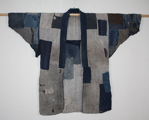 Japanese antique indigo dye cotton boro Farmclothes Tattered jacket