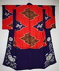 Japanese antique silk shibori Tie-dye nakagi kimono Meiji era
