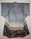 Japanese antique silk Dyeing & embroidery kimono edo era(1800-1867)