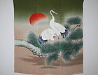 Japanese antique taisyo era Freehand drawing dyeing silk big fukusa