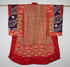 Japanese antique shiko & benibana-dye silk child kimono yosegire edo