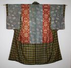 Japanese Antique silk Safflower dye akita hachijyo yosegire kimono edo