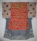 Japanese antique yuzen-dye & Tie-dye & beniitajime kimono1800-1867