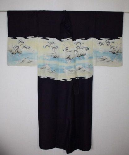Japanese antique silk katsugi hitoe Thin kimono Meiji era(1868-1910)