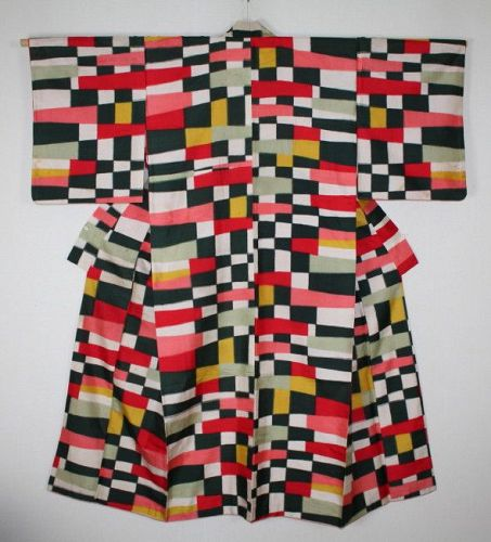 Japanese vintage silk meisen kimono of Colorful, impressive pattern
