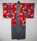 Japanese antique beniitajime katazome yuzen-dye silk kimono edo-meiji