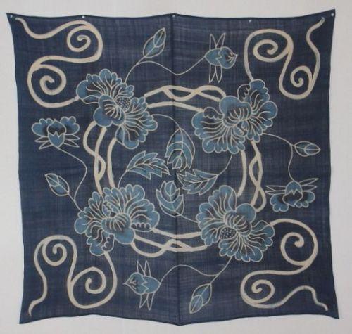 Okinawa Textile. Egata. Ramie. Uchikui. Indigo. Tsutsugaki. Rare.