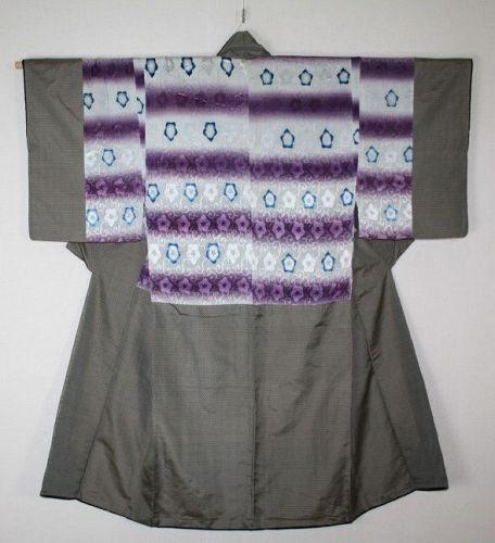 Japanese antique shikon-dye &  indigo dye dangawari kimono silk Edo