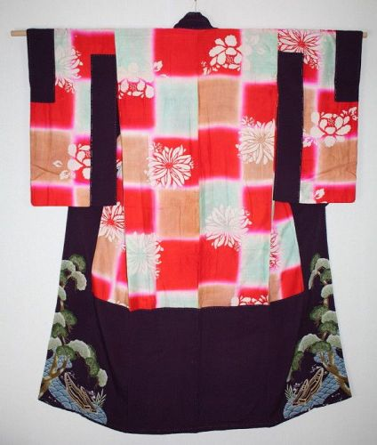 Japanese antique old beni-daying silk katazome nakagi kimono Meiji era