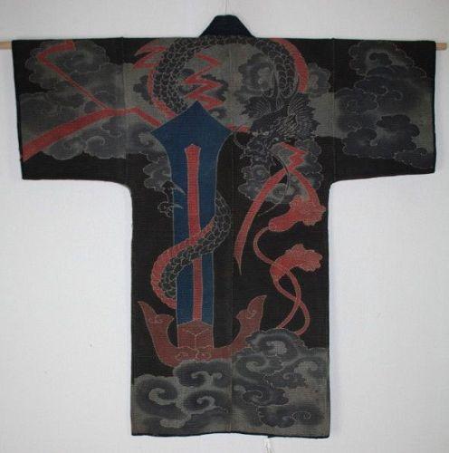 Japanese antique fireman's sashiko tsutsugaki Excellent hanten Edo era