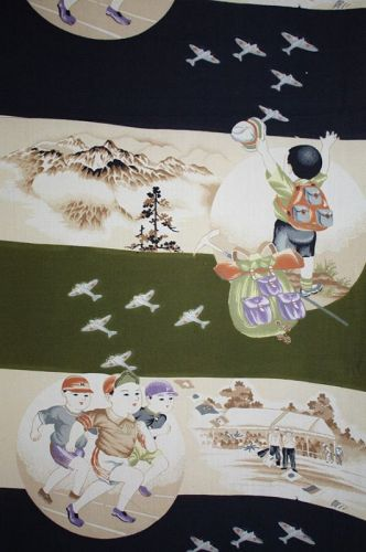 Japanese antique katazome cotton kimono fabric Pattern of the war