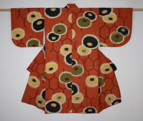 Japanese antique silk tsumugi kasuri child kimono Pattern Korin kiku