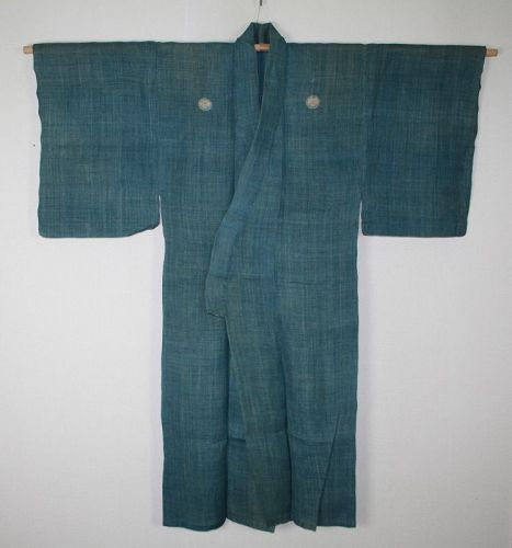 Japanese antique natural handspun & indigo dyeing hemp thic kimono
