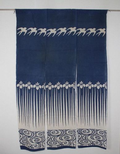 Japanese antique Pattern of An iris & swallow katazome cotton noren