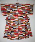 Japanese vintage silk meisen kimono of Colorful, impressive pattern