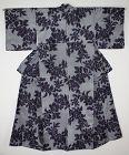 Japanese vintage silk meisen kimono of Pattern of the flower Charming