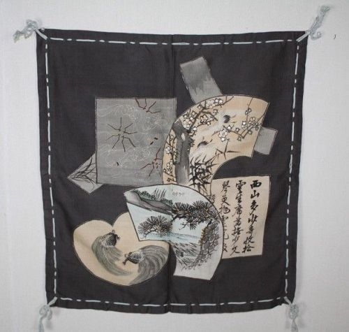 Japanese antique silk fukusa textile of Pattern of lucky