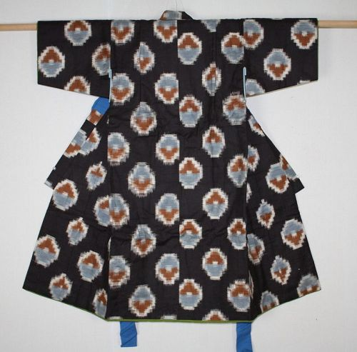 Japanese vintage kasuri cotton child beautiful kimono