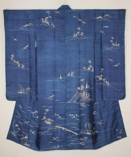 Japanese. Tsutsugaki. Yuzen. Indigo. Silk. Original. Furisode. Hitoe.