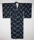Japanese vintage cotton indigo dyeing beautiful katazome hitoe kimono