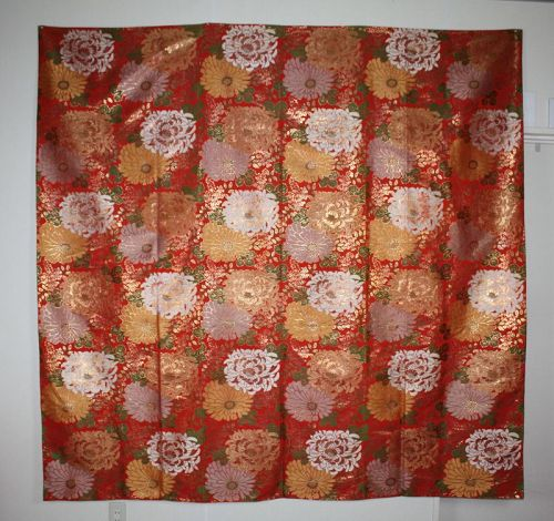 Japanese antique silk uchishiki kinran gorgeous golden chrysanthemum