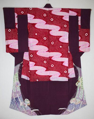 Japanese antique beautiful silk shibori (Tie-dye )nakagi kimono meiji