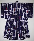 Japanese antique silk meisen kimono of Charming geometric pattern