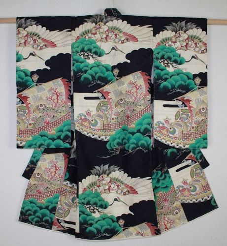 Japanese vintage beautiful child katazome silk kimono