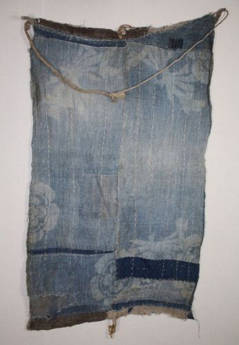 Japanese antique indigo dye hemp Tattered patched boro rag meiji