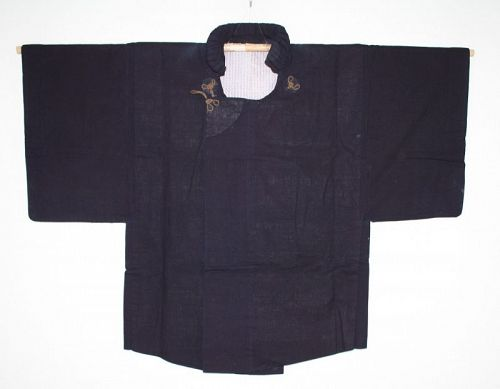 Japanese Antique dark Indigo dye cotton and sarasa samurai dochugi