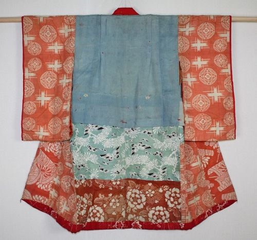 Japanese antique EDO yuzen & benibana-dye silk child kimono yosegire