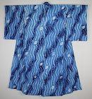Japanese vintage  indigo dye shibori (Tie-dye) cotton kimono of meiji
