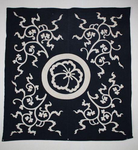 Japanese antique natural indigo dye cotton tsutsugaki big furoshiki