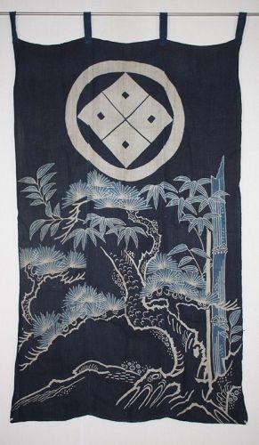 Japanese antique�indigo dye hemp noren  tsutsugaki textile of Edo