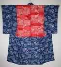 Japanese antique beni-itjime & indigo dye katazime patched kimono edo