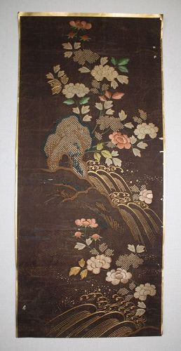 Japanese antique piece of embroidered kimono  th silk of the Edo perio