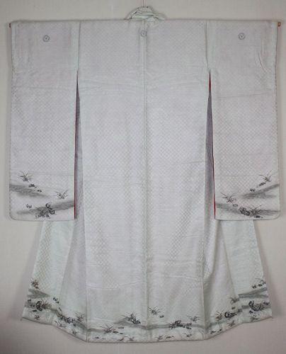 Japanese antique silk furisode embroidery kimono of small river crab
