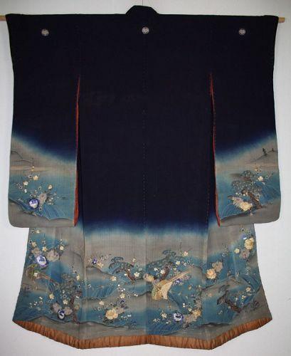 Japanese antique indigo dye silk yuzen dyed  & embroidery kimono Edo