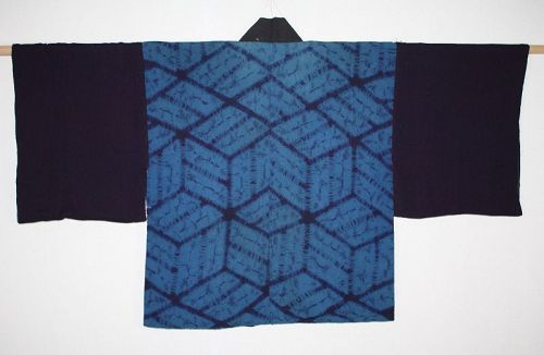 Japanese antique natural indigo dye shibori (Tie-dye)han-jyuban edo