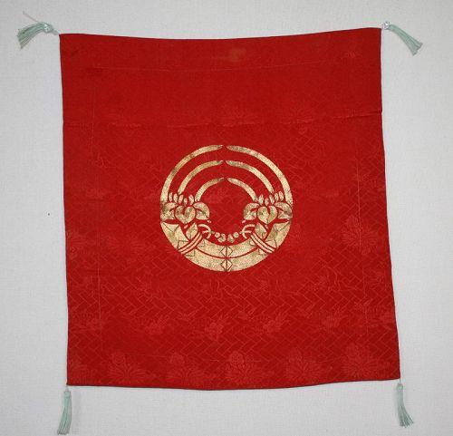 Japanese antique beautiful silk kinkoma gold embroidery fukusa iris ed