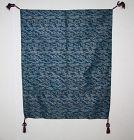 Japanese antique indigo silk fukusa nishijin textile Phoenix paulownia