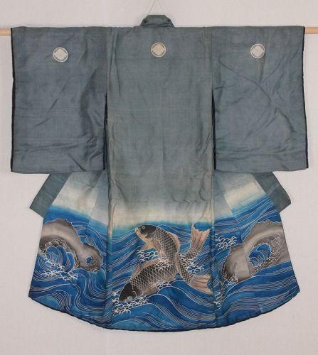 Edo Silk Tsutsugaki Children's kimono Bold move Carp