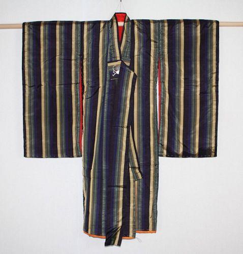 Japanese antique silk striped weave  Edo to Meiji period chid kimono