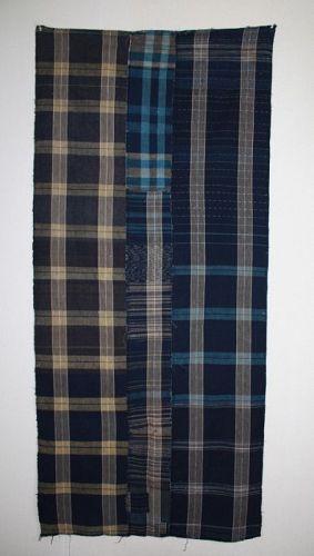 Japanese zanshi indigo dye stripe cotton patched weave futon cove